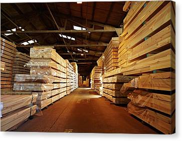 Stacks Of Timber Planks In Large Timber S Canvas Print by Mark Sykes