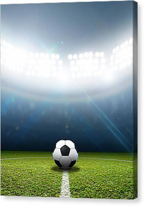 Stadium And Soccer Ball Canvas Print by Allan Swart