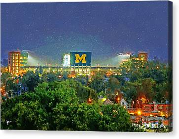 Stadium At Night Canvas Print by John Farr