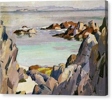 Staffa And Rhum From Iona Canvas Print by Francis Campbell Boileau Cadell