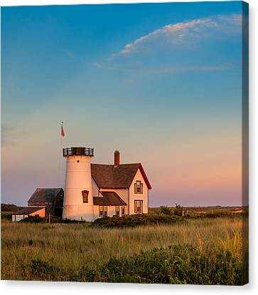 Stage Harbor Lighthouse Square Canvas Print by Bill Wakeley