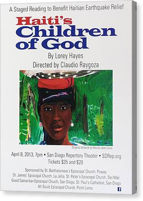 Staged Reading To Benefit Haitian Earthquake Relief Canvas Print by Nicole Jean-Louis