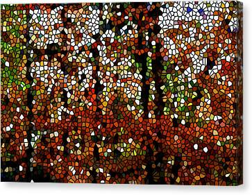Stained Glass Autumn Colors In The Forest  Canvas Print by Lanjee Chee