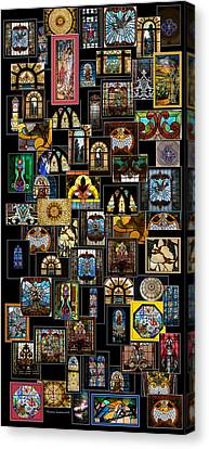 Stained Glass Collage Canvas Print by Thomas Woolworth