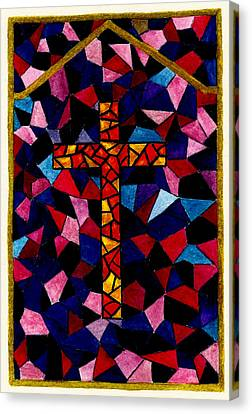 Stained Glass Cross Canvas Print by Michael Vigliotti