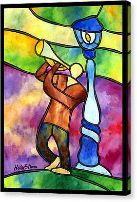 Stained Glass Jazzman Canvas Print by Hailey E Herrera