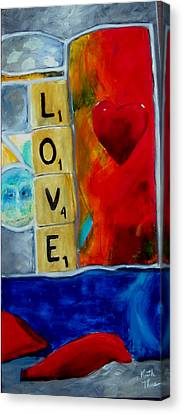 Stained Glass Love Canvas Print by Keith Thue