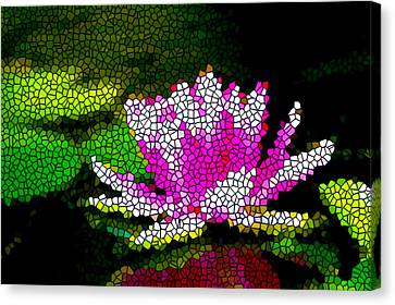 Stained Glass Pink Lotus Flower   Canvas Print by Lanjee Chee