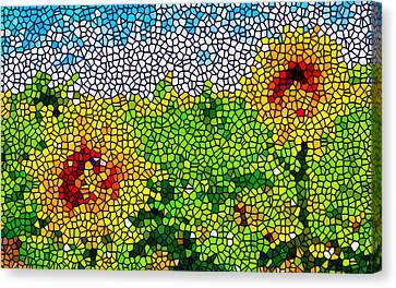 Stained Glass Sunflowers Canvas Print by Lanjee Chee