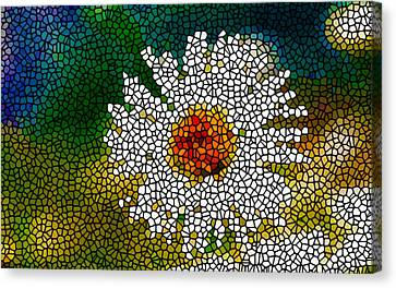 Stained Glass White Flower Canvas Print by Lanjee Chee
