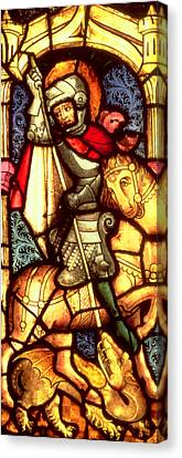 Stained Glass Window Depicting Saint George Canvas Print by German School