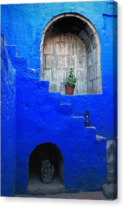 Staircase In Blue Courtyard Canvas Print by RicardMN Photography