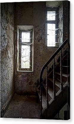 Staircase Spider Web Haunted Spooky Castle Canvas Print by Dirk Ercken