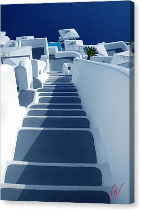 Stairs Down To Ocean Santorini Canvas Print by Colette V Hera  Guggenheim