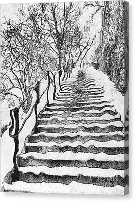 Stairs In Winter Canvas Print by Odon Czintos