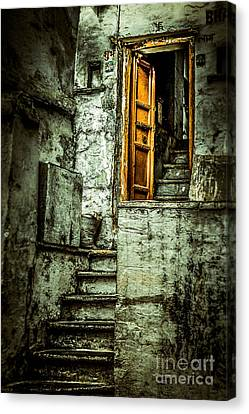 Stairs Leading To The Old Door Canvas Print by Catherine Arnas