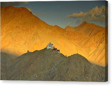 Stairs To Tsemo Canvas Print by Aaron S Bedell