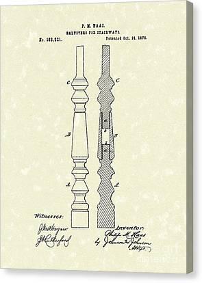 Stairway Baluster 1876 Patent Art Canvas Print by Prior Art Design
