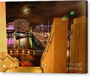 Stairway To Darling Harbour During Vivid Sydney 2014 Canvas Print by Kaye Menner