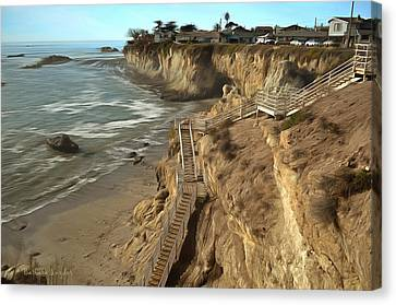 Stairway To Pismo Beach Canvas Print by Barbara Snyder