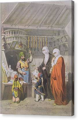 Stallholder Selling Spiced Delicacies Canvas Print by Adolphe Jean-Baptiste Bayot