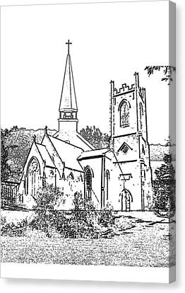 Stamp Of Churches Canvas Print by Vicky  Hutton