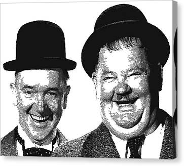 Stan And Ollie - Parallel Hatching Canvas Print by Samuel Majcen