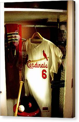 Stan The Man's Locker Stan Musial Canvas Print by Iconic Images Art Gallery David Pucciarelli