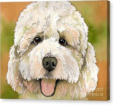 Standard White Poodle Dog Watercolor Canvas Print by Cherilynn Wood