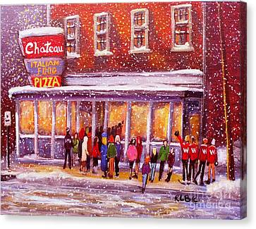 Standing In Line At The Chateau Canvas Print by Rita Brown