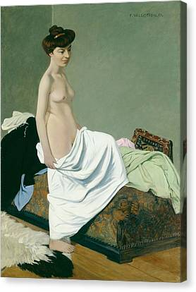 Standing Nude Holding A Gown On Her Knee Canvas Print by Felix Edouard Vallotton