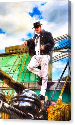 Standing On The Deck Of Old Ironsides Canvas Print by Mark E Tisdale