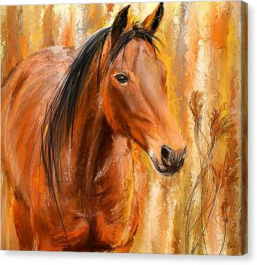 Standing Regally- Bay Horse Paintings Canvas Print by Lourry Legarde
