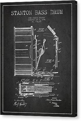 Stanton Bass Drum Patent Drawing From 1904 - Dark Canvas Print by Aged Pixel