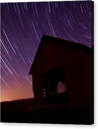 Star Trails On The Farm Canvas Print by Dan Sproul