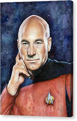Captain Picard Portrait Canvas Print by Olga Shvartsur