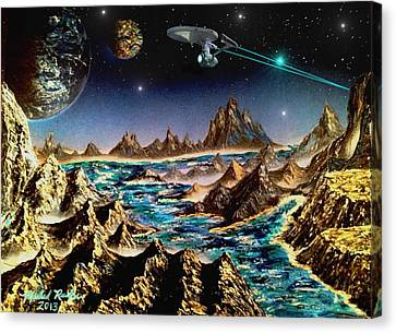 Star Trek - Orbiting Planet Canvas Print by Michael Rucker
