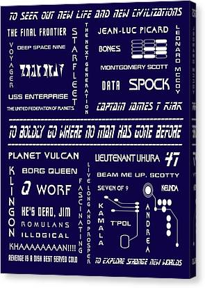 Star Trek Remembered In Navy Blue Canvas Print by Georgia Fowler