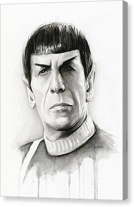 Star Trek Spock Portrait Canvas Print by Olga Shvartsur