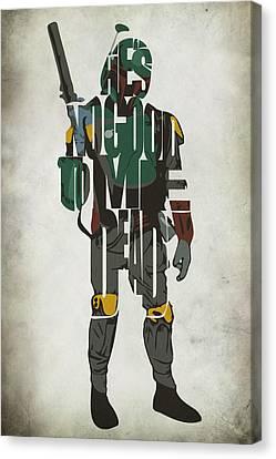 Star Wars Inspired Boba Fett Typography Artwork Canvas Print by Ayse Deniz