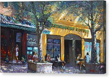 Starbucks Hangout Nyack Ny Canvas Print by Ylli Haruni