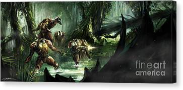 Starcraft 2 Heart Of The Swarm Jungle Expedition Canvas Print by Ondrej Soukup