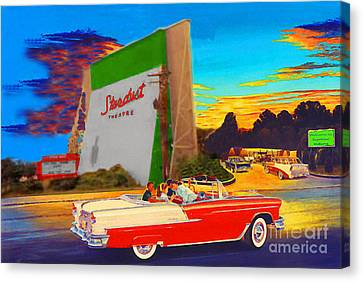 Stardust Drive In Seymour In Canvas Print by Jost Houk