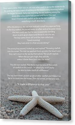 Starfish Make A Difference  Canvas Print by Terry DeLuco