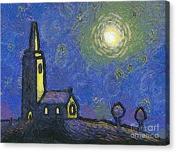 Starry Church Canvas Print by Pixel Chimp