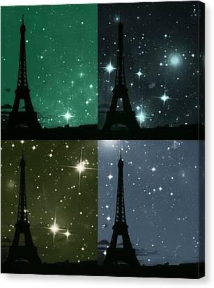 Starry Night - Eiifel Tower Paris Canvas Print by Marianna Mills