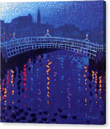 Starry Night In Dublin Canvas Print by John  Nolan