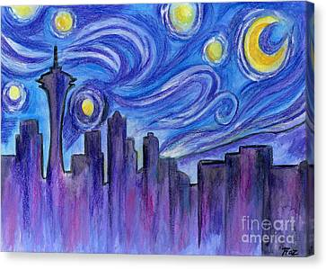 Starry Night Over Seattle Canvas Print by Roz Abellera Art
