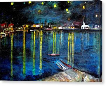 Starry Night Over The Rhone River Canvas Print by Rick Todaro
