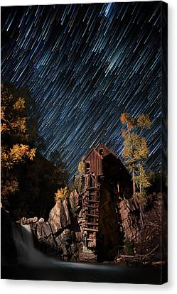 Starry Night Star Trails At The Crystal River Mill Canvas Print by Mike Berenson